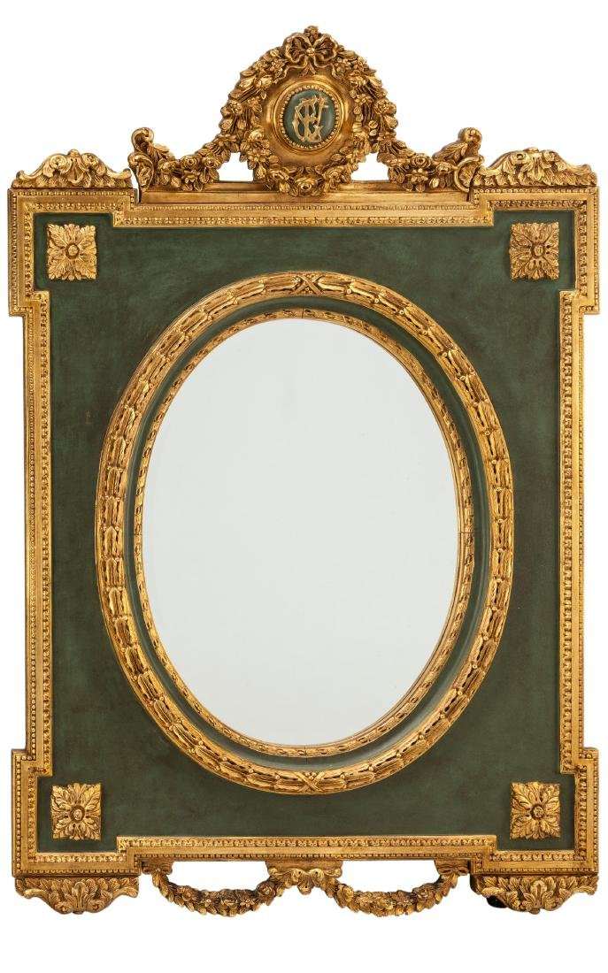 LARGE LOUIS XVI-STYLE CARVED GILTWOOD MIRROR