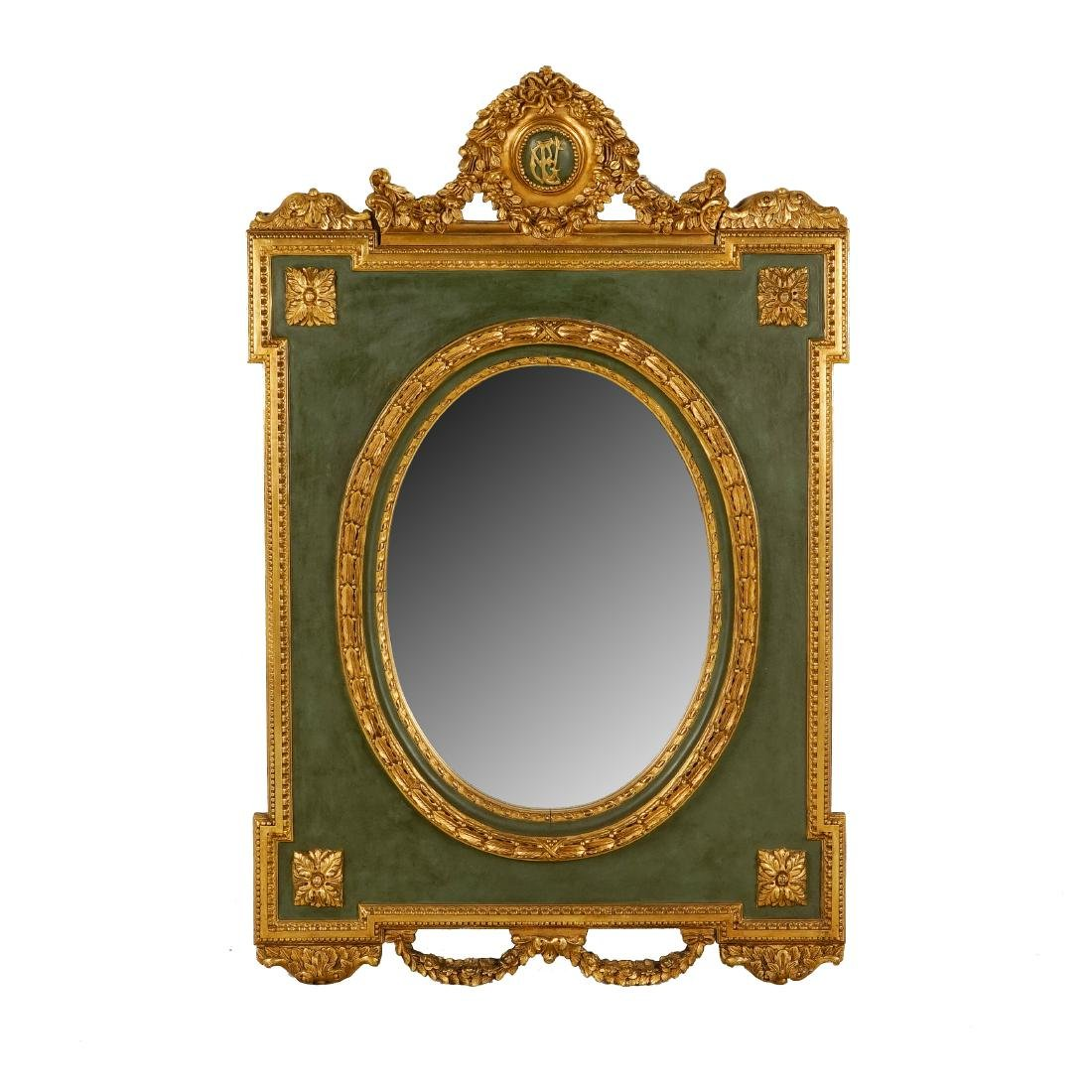 LARGE LOUIS XVI-STYLE CARVED GILTWOOD MIRROR - 2