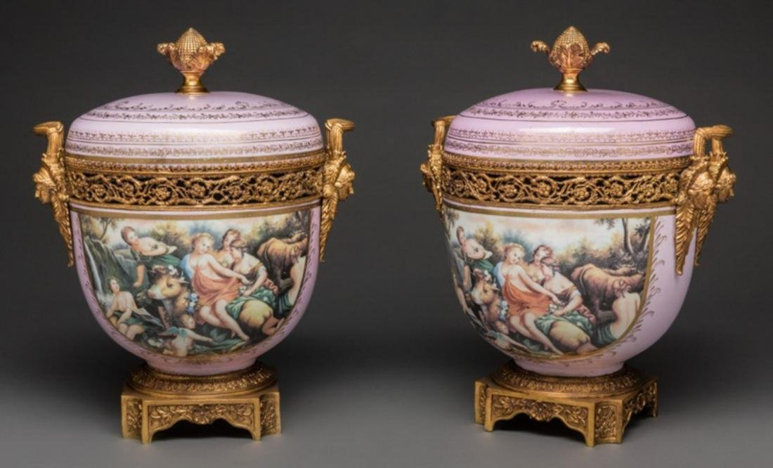 LARGE PAIR OF SEVRES-STYLE PORCELAIN AND GILT BRONZE