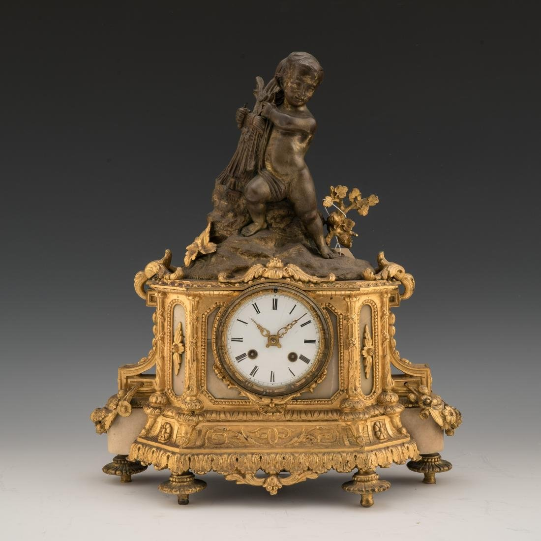 19TH CENTURY LOUIS XVI-STYLE GILT AND PAINTED BRONZE