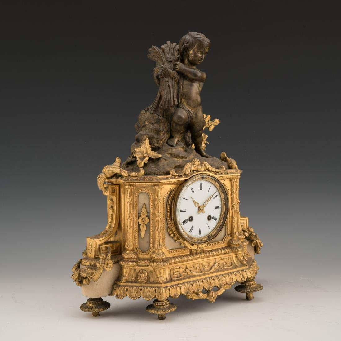 19TH CENTURY LOUIS XVI-STYLE GILT AND PAINTED BRONZE - 2