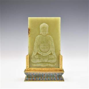 YELLOW JADE BUDDHA TABLE SCREEN ON CLOISONNE STAND