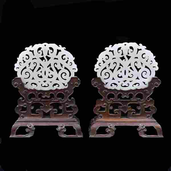 PAIR OF DOUBLE DRAGONS WHITE JADE TABLE SCREENS