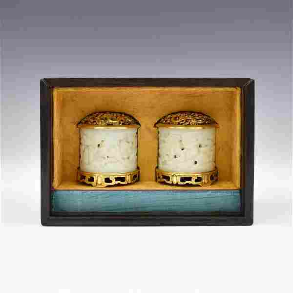 PAIR WHITE JADE & GILT BRONZE CENSERS IN BOX