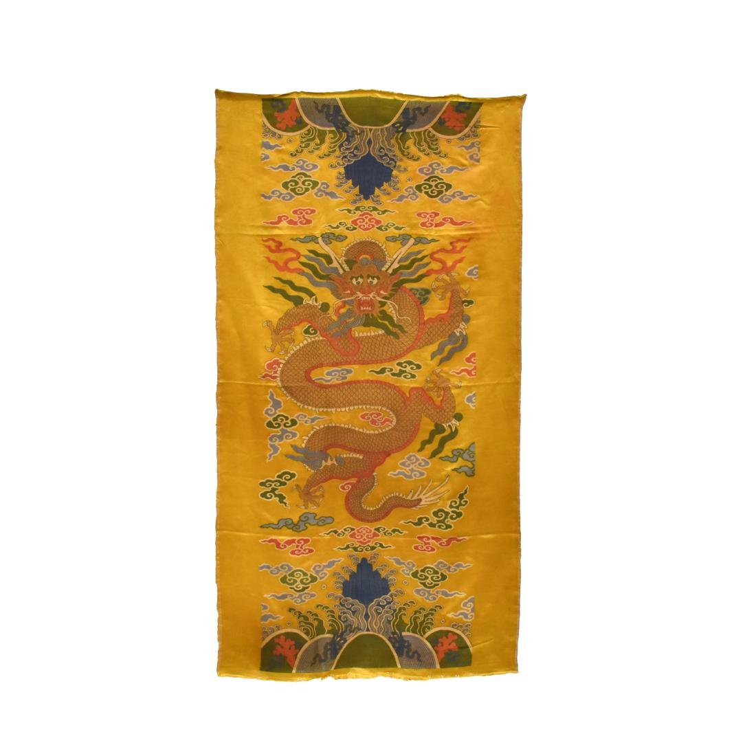 RED DRAGON YELLOW SILK TAPESTRY