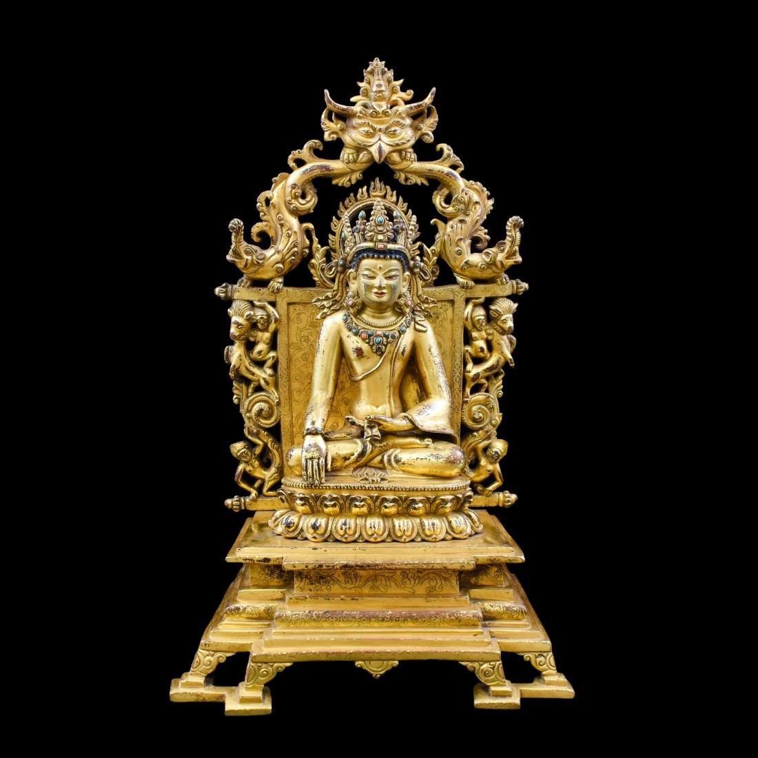 QING GILT BRONZE BUDDHA VAJRADHARA
