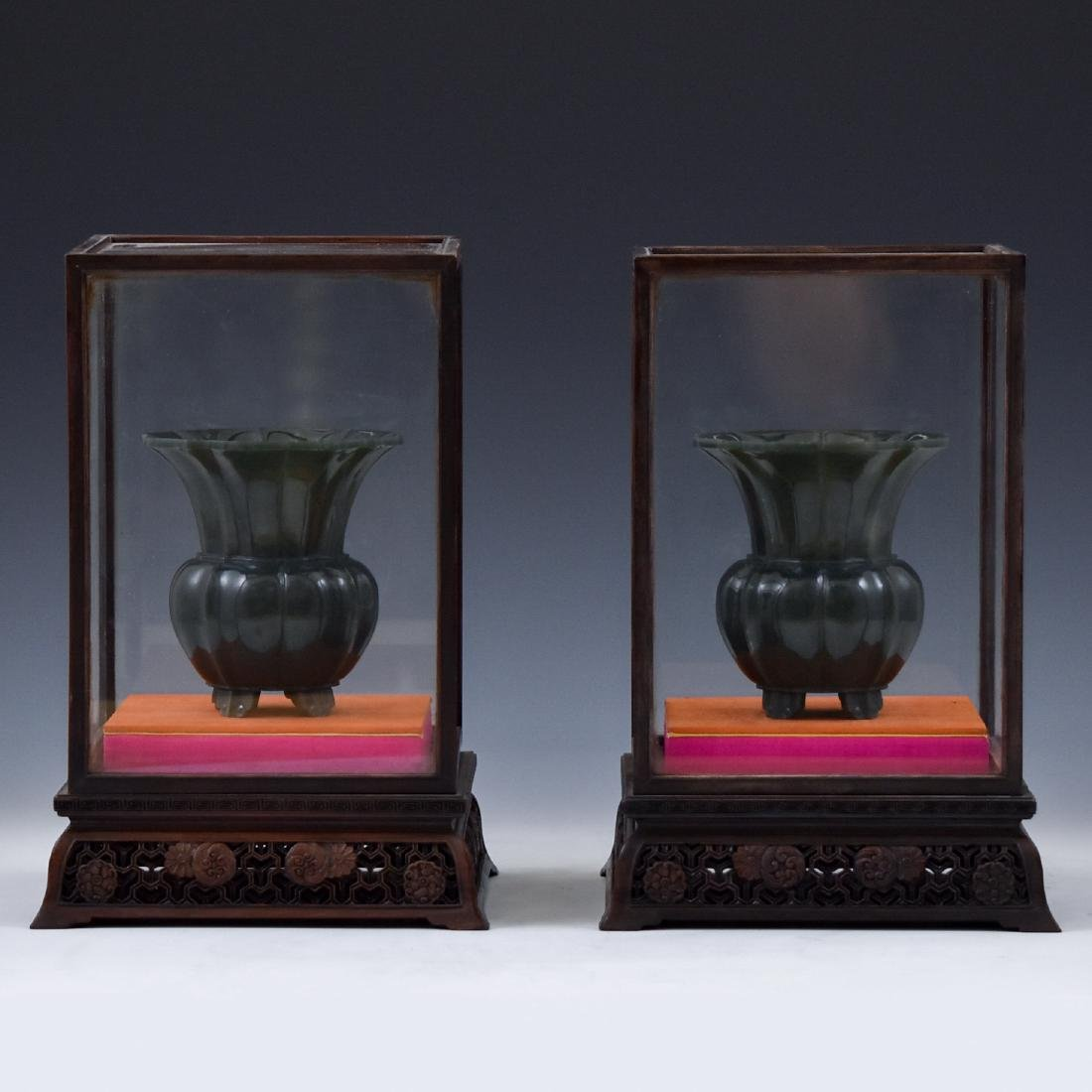 PAIR OF FLORI FORM GREEN JADE PLANT POTS IN GLASS BOX