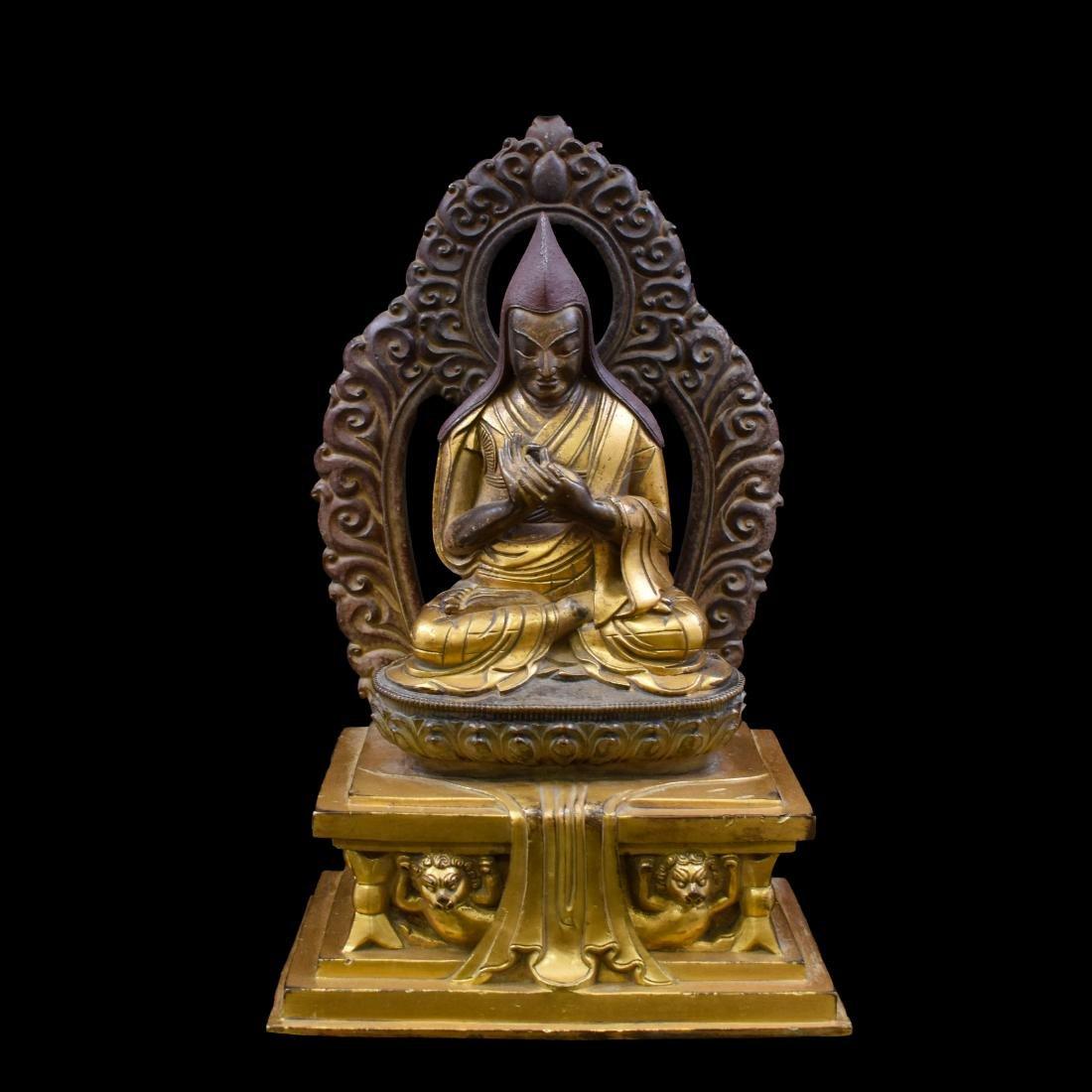 18TH C QING GILT BRONZE BUDDHA FIGURE OF LAMA