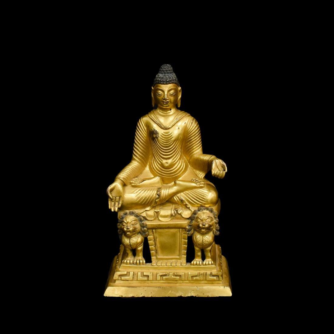 GILT BRONZE MAITREYA BUDDHA ON LION PEDESTAL