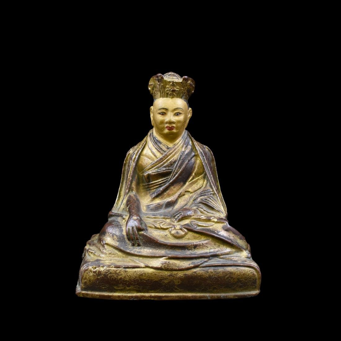 QING GILT BRONZE BUDDHA FIGURE OF LAMA