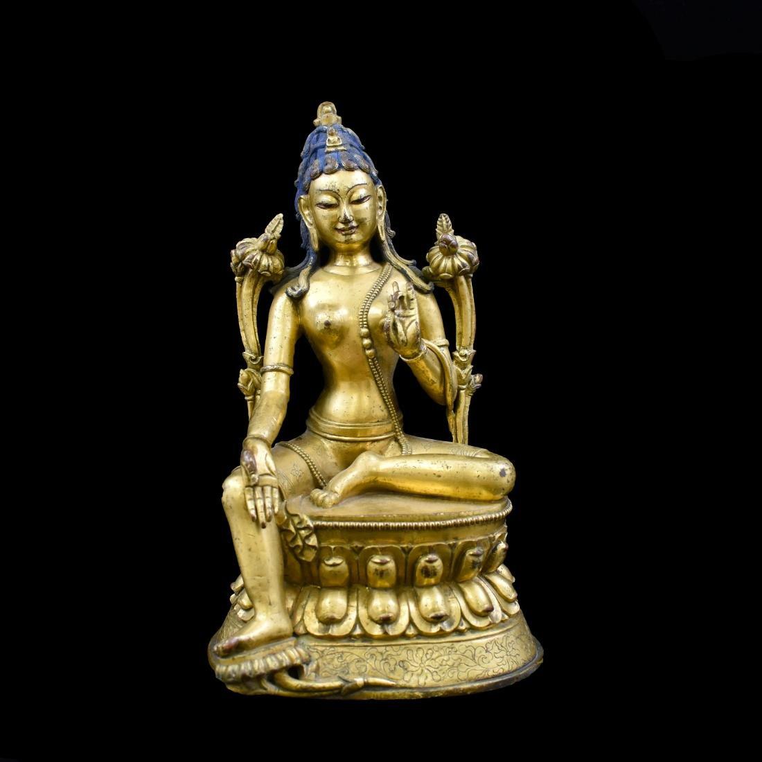 QING GILT BRONZE SEATED BUDDHA TARA