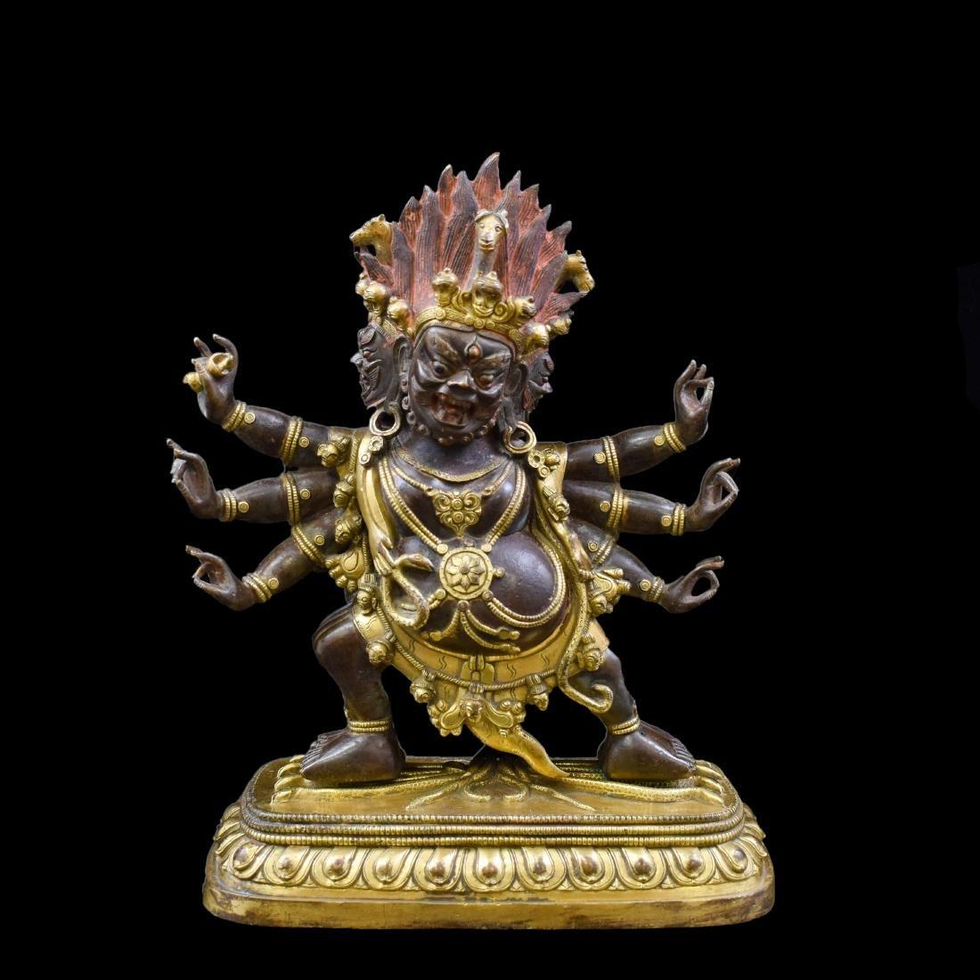 QING GILT BRONZE BUDDHA FIGURE OF HAYAGRIVA