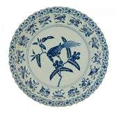 LARGE MING YONGLE BLUE & WHITE MAGPIE CHARGER