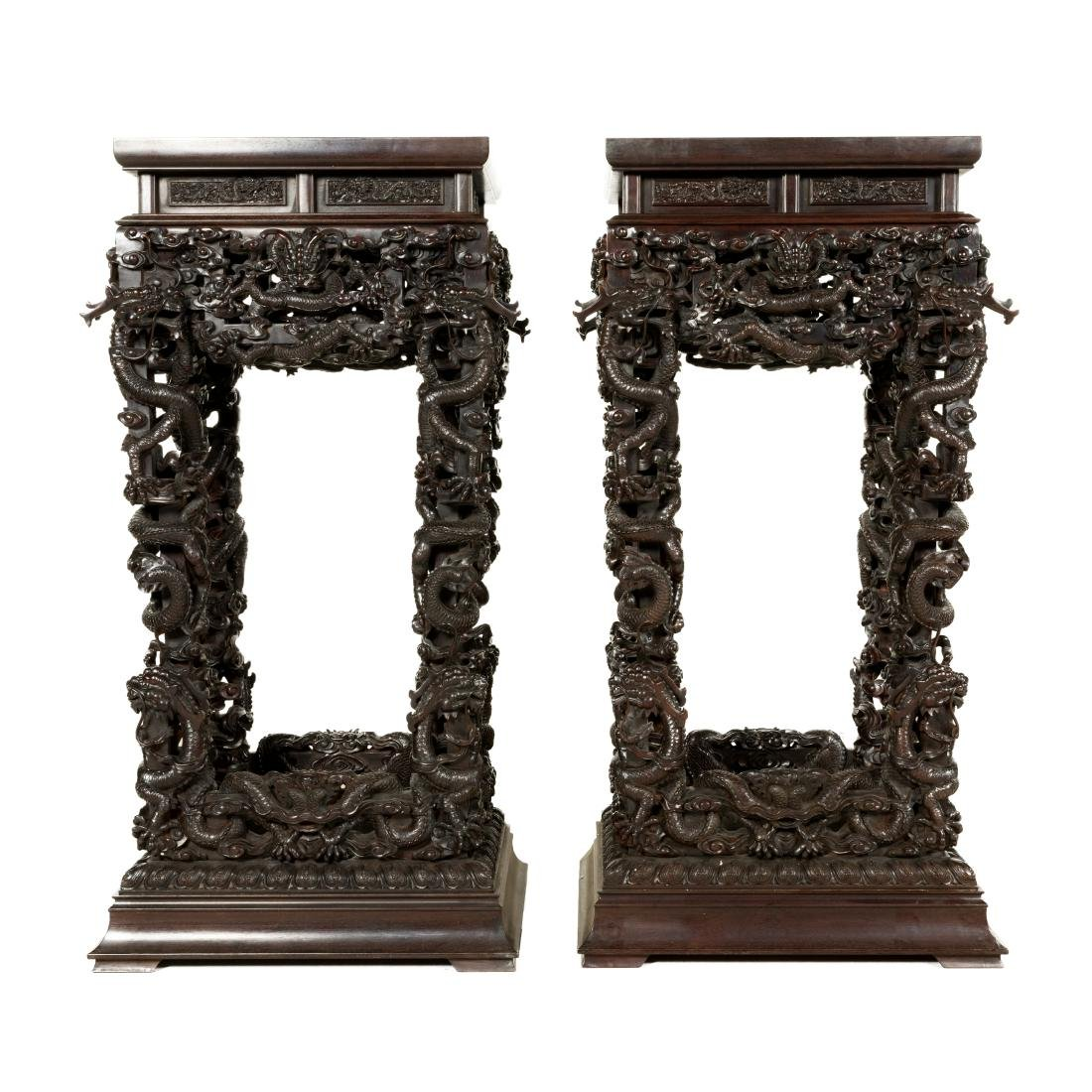 EXTRAORDINARY PAIR ZITAN CARVED DRAGON STANDS