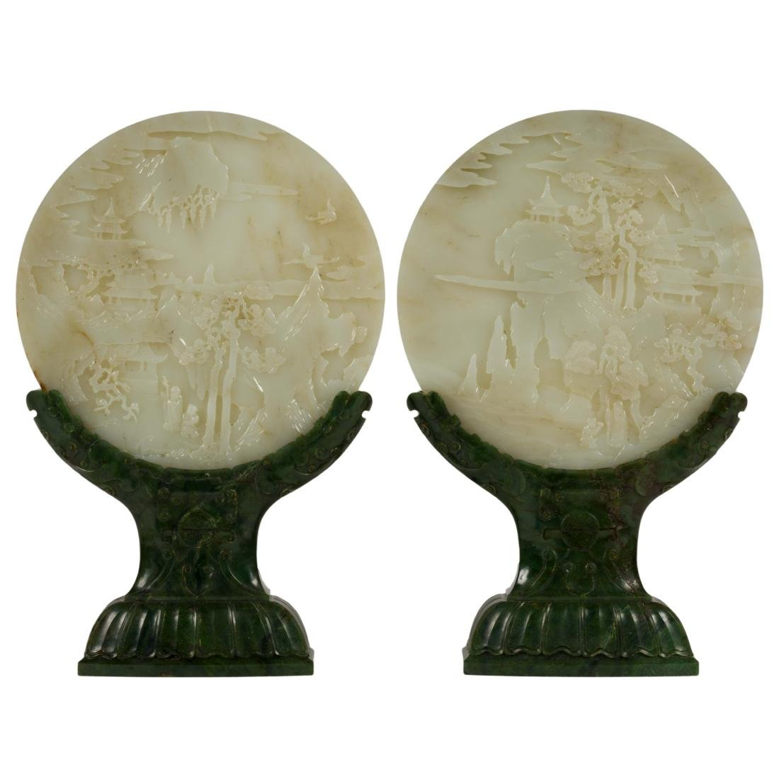 18/19TH C PAIR OF WHITE JADE PANORAMIC TABLE SCREENS