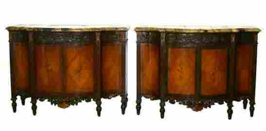PAIR OF MARBLE COMMODE