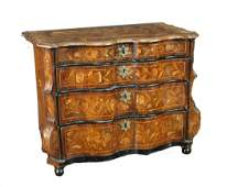 MARQUETRY SERPENTINE COMMODE