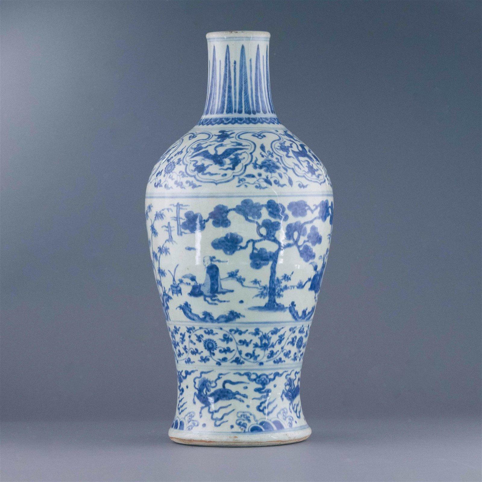 MING BLUE & WHITE ZUN VASE