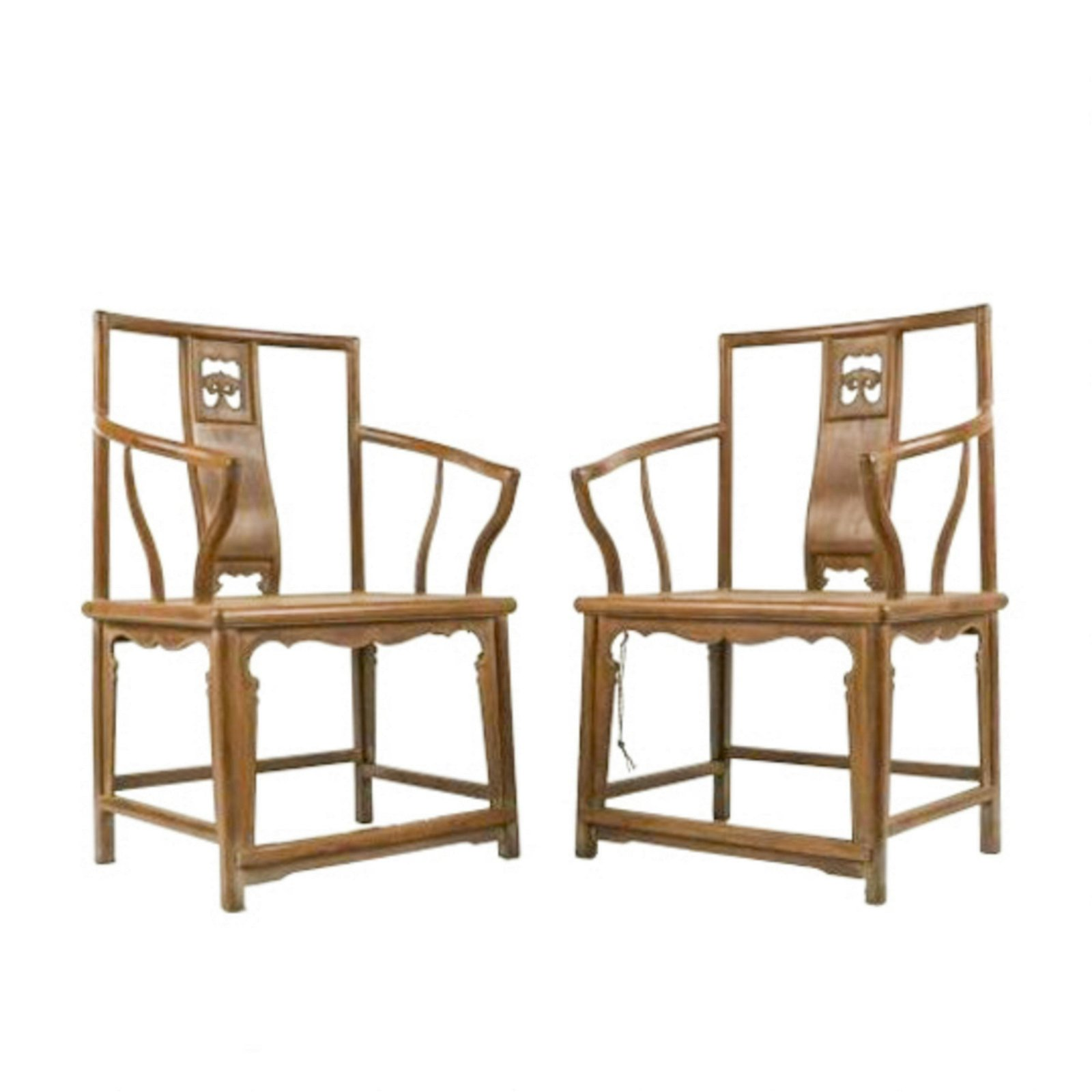 PAIR OF 18TH C HUANGHUALI LOWBACK ARMCHAIRS (MEIGUI YI)