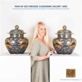 PAIR OF GILT BRONZE CLOISONNE HELMET JARS