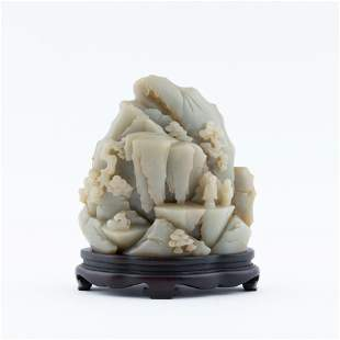 JADE CARVED MOUNTAIN ON STAND
