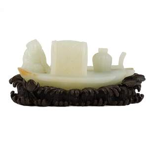 CHINESE WHITE JADE BOAT ON STAND