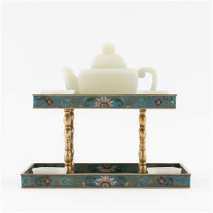 WHITE JADE TEAPOT & CLOISONNE STAND