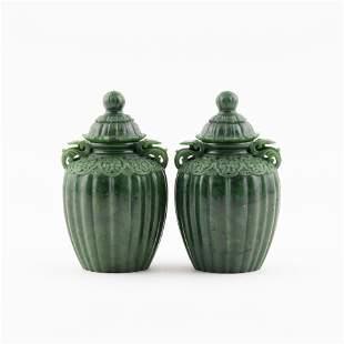 PAIR OF GREEN JADE CHESS LIDDED JARS