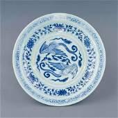 YUAN BLUE & WHITE PHOENIX PORCELAIN CHARGER
