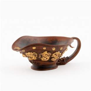 ANTIQUE CHINESE GILT BRONZE LIBATION CUP
