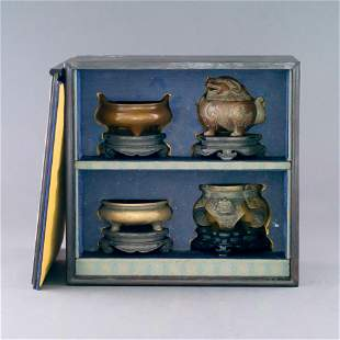SET OF BRONZE CENSERS IN ORIGINAL BOX