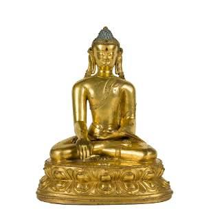 QING GILT BRONZE SEATED SAKHYAMUNI BUDDHA