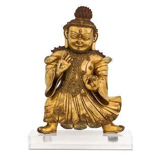 MING GILT BRONZE BUDDHA VAISHRAVANA