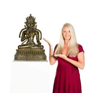 MING BRONZE SEATED BUDDHA AVALOKITHESVARA
