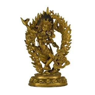 MING GILT BRONZE DANCING BUDDHA