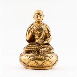 QING GILT BRONZE BUDDHA TEACHER YESHE DORJE