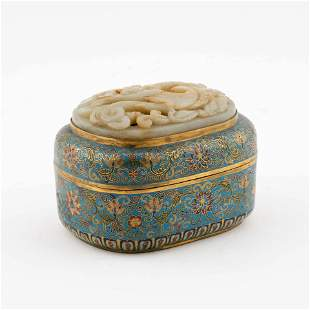 JADE INLAID GILT BRONZE CLOSSINE BOX
