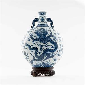 QING BLUE & WHITE DRAGON MOON VASE ON STAND