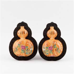 PAIR CHINESE DOUBLE GOURD HANGING VASES