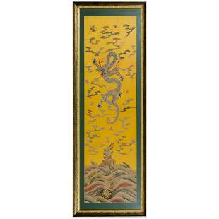 FRAMED 18/19TH C EMBROIDERY DRAGON SILK PANEL