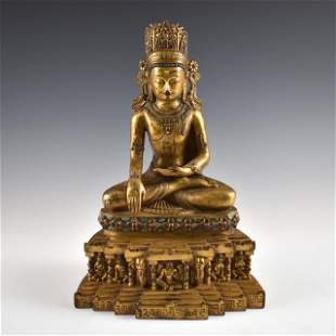 MING GILT BRONZE & TURQUOISE RATNASAMBHAVA BUDDHA