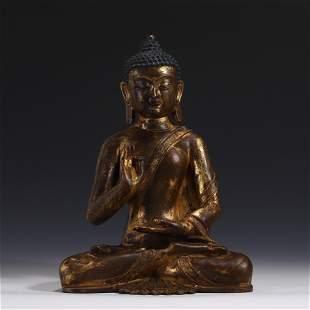 GILT BRONZE SAKYAMUNI BUDDHA