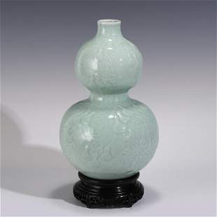 DOUQING GLAZED DOUBLE GOURD BOTTLE ON STAND