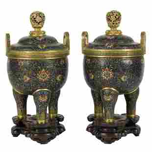PAIR OF GILT BRONZE CLOISONNE TRIPOD CENSERS ON STAND