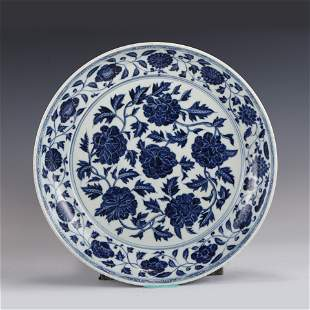 BLUE & WHITE FLOWER PLATE