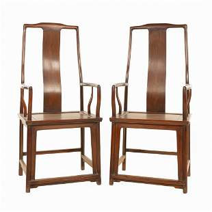 PAIR CHINESE HUANGHUALI SOUTHERN YOKE BACK ARM CHAIRS