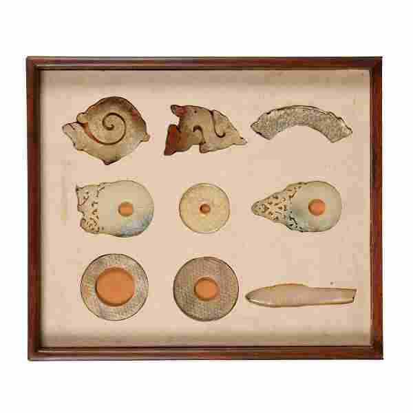 SET OF 9 WARRING STATES JADE IN WOODEN BOX
