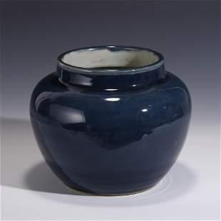MING BLUE GLAZED MONOCHROME JAR