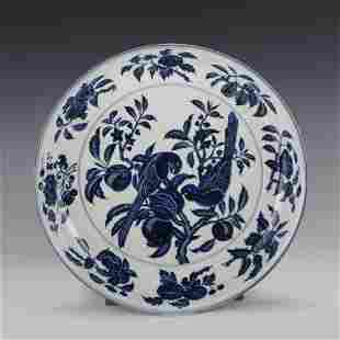 XUANDE BLUE & WHITE BIRD & POMEGRANATE PLATE