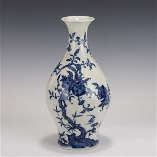 QING BLUE & WHITE PEACH AND FU BATS WILLOW VASE